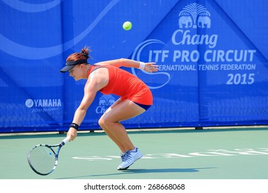 BANGKOK, APRIL 4 : Chanel Simmonds of South Africa action in Chang ITF Pro Circuit International Tennis Federation 2015 at Rama Gardens Hotel on April 4, 2015 in Bangkok Thailand. She won in the match