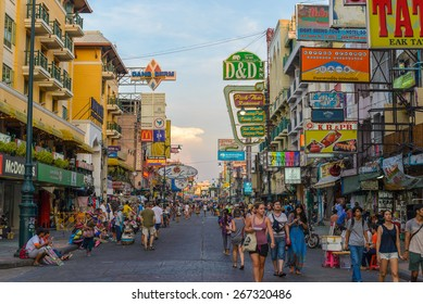 BANGKOK - April 6: Unidentified tourists walking at Khao San Road on April 6, 2015 in Bangkok, Thailand. This road is popular among backpacker because budget accommodation and food.