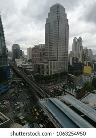 Bangkok - April 8, 2018: View over busy Asoke area