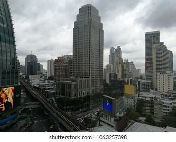 Bangkok - April 8, 2018: View over busy Asoke traffic intersection.