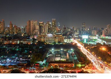 BANGKOK - APRIL,21: The view of high building at night from the 18 th floors of Thai port authority of Thailand. Main road of city at night time is the most beautiful . THAILAND APRIL,21 2015