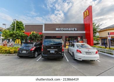 BANGKOK - AUG 10: McDonald's resturant on Feb 9, 14 in Bangkok. It is the world's largest chain of hamburger fast food restaurants.