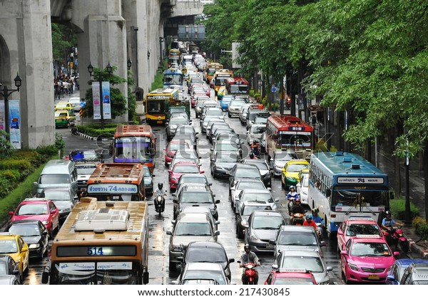 BANGKOK - AUG 18: Traffic nears gridlock on a busy city centre road on Aug 18, 2013 in Bangkok, Thailand. Each year an estimated 150,000 cars join the heavily congested roads of the Thai capital.