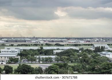 BANGKOK - Aug 19 : Many planes at Don Muang Airport on Aug 19, 2015 in Bangkok,Thailand.