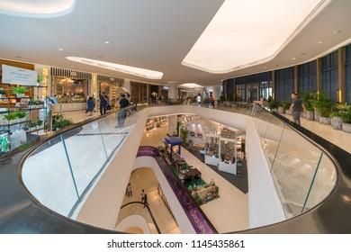 BANGKOK - AUG 6 : Escalators in Central Embassy Shopping Mall on Aug 6, 2017 in Bangkok, Thailand.