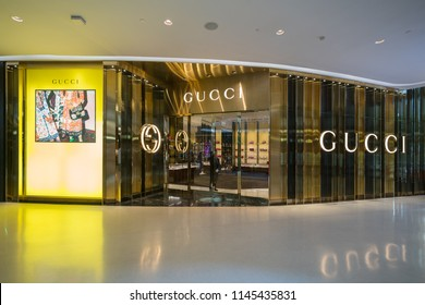 BANGKOK - AUG 6 : Gucci shop in Central Embassy Shopping Mall on Aug 6, 2017 in Bangkok, Thailand.