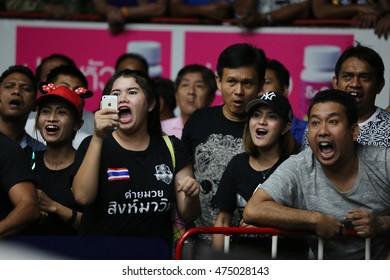 BANGKOK - AUG28: Unidentified fans of Muaythai in thai boxing competition - Battle Of Wansongchai at Rajadamnern stadium on August 28,2016 in Bangkok.