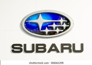 BANGKOK - AUGUST 1 : Logo of Subaru on display at Bangkok International Grand Motor Sale 2015 (Big Motor Sale 2015) is exhibition of vehicles for sale on August 1, 2015 in Bangkok, Thailand.