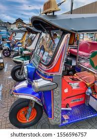Bangkok: August 2019: Beautiful view of the Tuktuk Rikshaw of Bangkok.