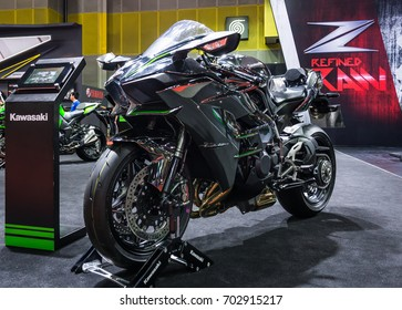 BANGKOK - AUGUST 21, 2017 : Kawasaki Ninja H2 on display at Bangkok International Grand Motor Sale 2017(Big Motor Sale) in Bangkok, Thailand