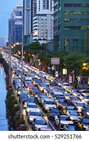 BANGKOK - August 9: Traffic jam in city center on August 9, 2016 in Bangkok, Thailand. Annually an estimated 150,000 new cars join the heavily congested streets of the Thai capital.