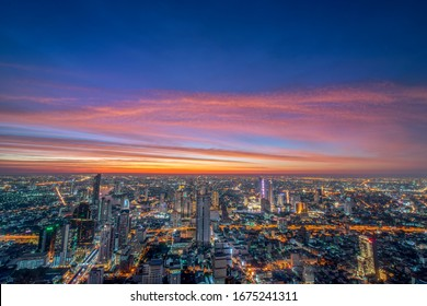 Bangkok business cityscape , View of all Bangkok city and Chao Phraya River with beautiful sunset and twilight  ,View from highest tower in Thailand