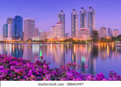 Bangkok Business Financial Downtown City and Skyscrapers Building, Cityscape Urban Public Park and Business Finance District Center of Bangkok, Thailand. Landscape Scenery Capital City of Thailand
