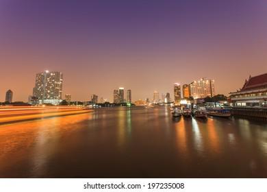 Bangkok Chao Praya River Night Sence