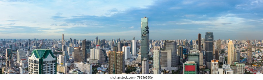 Bangkok ciity and business urban downtown of Thailand., Panorama scene