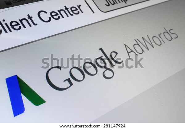 BANGKOK - CIRCA FEBRUARI, 2015 - Google AdWords is an online advertising service that enables advertisers to compete to display brief advertising copy to web users, based on keywords.