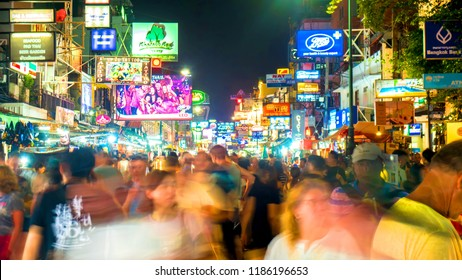 BANGKOK - CIRCA FEBRUARY 2018: View from the middle of the famous Khao San Road as people pass by on the street in the night circa February 2018 in Bangkok, Thailand.