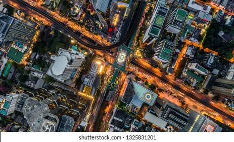 Bangkok City aerial view, Aerial view from above of skyscraper and traffic in Bangkok, Thailand.