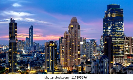 Bangkok City - Aerial view  beautiful sunset  Bangkok city downtown skyline of Thailand , cityscape at night  , landscape Bangkok Thailand