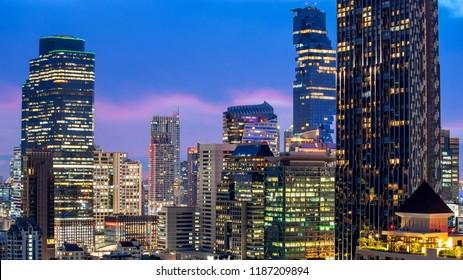 Bangkok City - Aerial view  beautiful sunset  Bangkok city downtown skyline of Thailand , cityscape tower urban at night  , landscape Bangkok Thailand