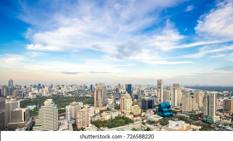Bangkok City - Aerial view  Bangkok city downtown skyline of Thailand , Cityscape Thailand