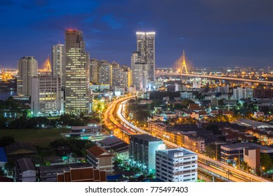 Bangkok city - Aerial view of Bangkok city downtown cityscape urban skyline at night , landscape Thailand