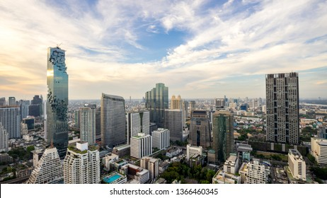 Bangkok City - Aerial view  Bangkok city urban downtown skyline tower of Thailand on blue sky background , City scape Thailand