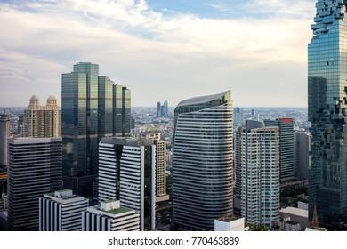 Bangkok City - Aerial view  Bangkok city urban downtown skyline of Thailand , Cityscape Thailand
