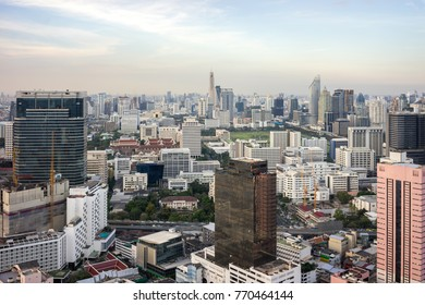 Bangkok City - Aerial view  Bangkok city urban downtown skyline of Thailand , Cityscape Thailand