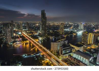Bangkok City April 5 : Top view city on April 5, 2015 in Bangkok, Thailand.