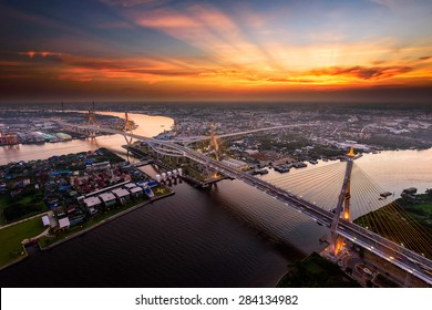 Bangkok City - Beautiful sunset view of Bhumibol Bridge,Thailand
