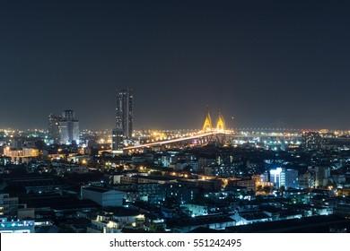 Bangkok city, Bhumibol Bridge night view on the capital of Thailand, citylights