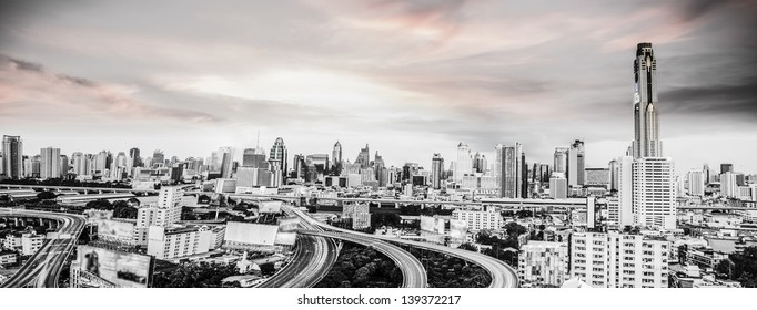 Bangkok city black and white view with main traffic
