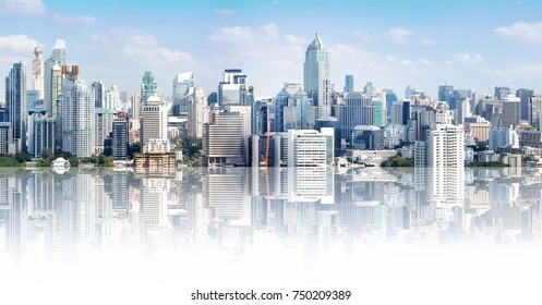 Bangkok city buildings cityscape, high buildings panorama downtown of Bangkok City Thailand. Modern buildings and high towers in Bangkok downtown. Bangkok Thailand beautiful landmark.