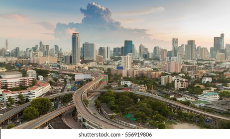 Bangkok city central business downtown with highway interchanged, aerial view