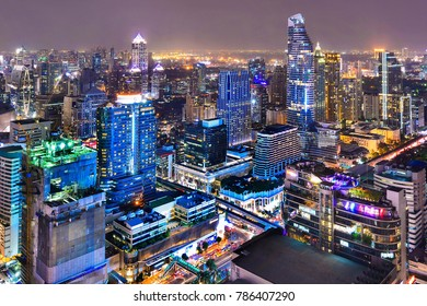 Bangkok city central business downtown bird eye view landscape at night.