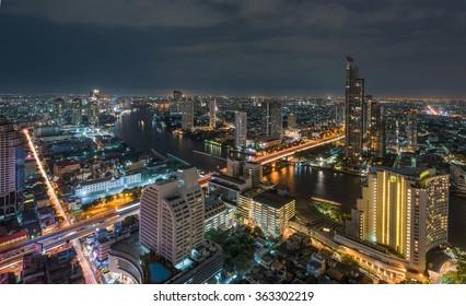 Bangkok City Chao Phraya River at night time