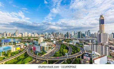Bangkok City with curve express way and skyline skyscraper, Bangkok cityscape, Thailand.