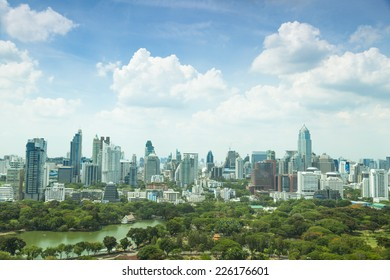 Bangkok city in day.In city's tallest building Area of the park. During the daytime the weather and clear.