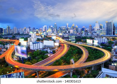 Bangkok city day view with main traffic