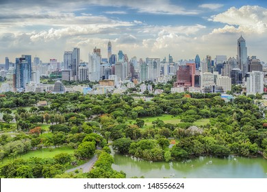 Bangkok city day view with main garden