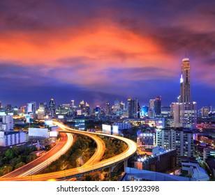 Bangkok city day view with main traffic at twilight
