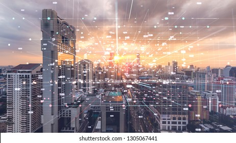 Bangkok city double exposure with cyber space Futuristic computer digital,technology Abstract background