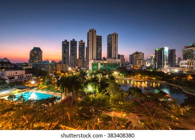 Bangkok city downtown at sunset, Benjasiri Park, Thailand