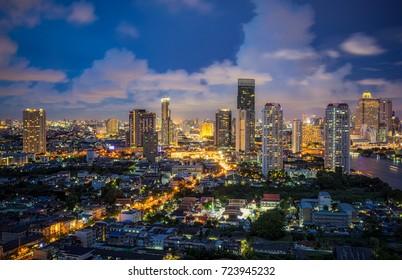 Bangkok city downtown at twilight  in Bangkok,Thailand