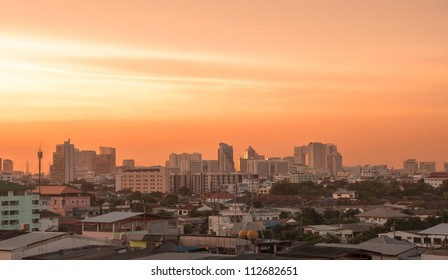 Bangkok city in evening light,Thailand