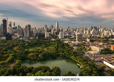 Bangkok city and garden thailand daylight