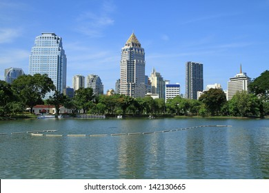 Bangkok city landscape from Lumpini Park, Thailand