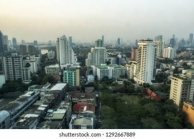 Bangkok city morning view in Sukhumvit, Thailand.