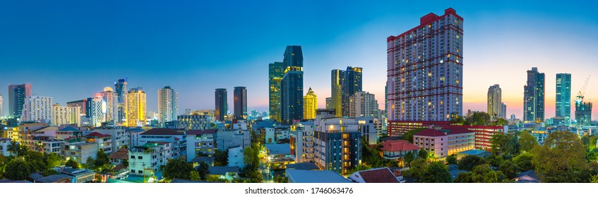 Bangkok city at night - buildings skyline and skyscrapers city night landscape